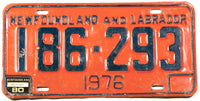 A 1980 Newfoundland and Labrador License Plate in very good plus condition