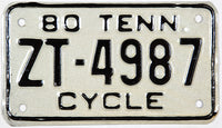 1980 Tennessee Motorcycle License Plate in new old stock excellent condition