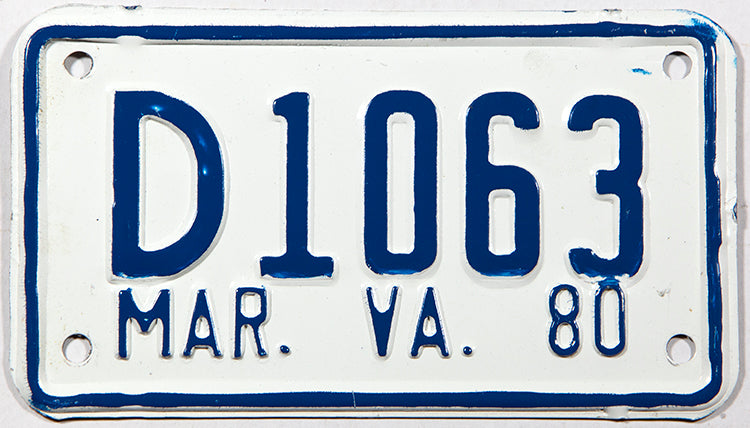 A new old stock 1980 Virginia dealer motorcycle license plate in excellent plus condition