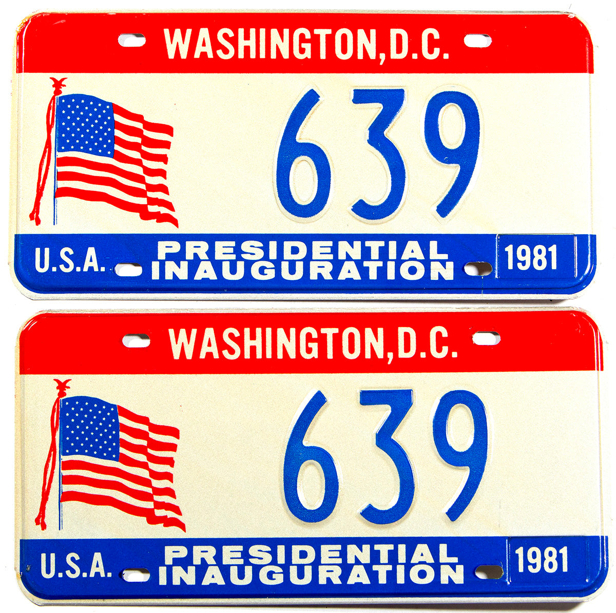 1981 DC Ronald Reagan Inaugural car license plates