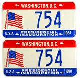 1981 DC Ronald Reagan Inaugural car license plates in excellent condition