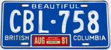 A classic 1981 British Columbia passenger car license plate in very good plus condition