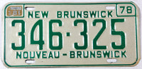A classic 1981 New Brunswick passenger car license plate in excellent minus condition