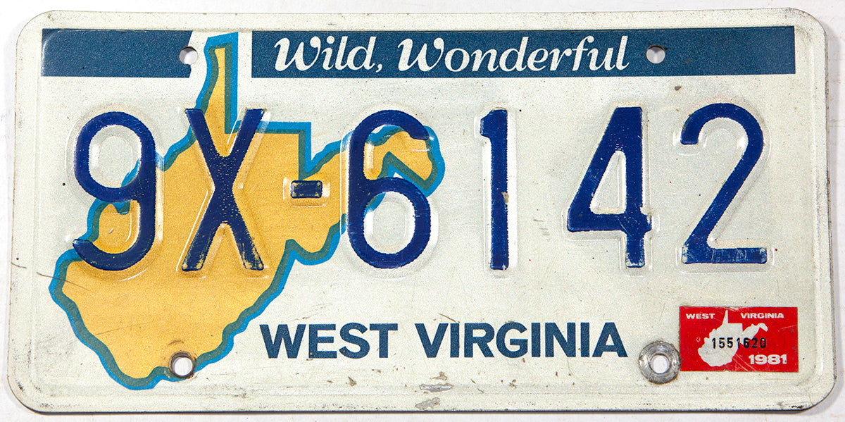 A 1981 West Virginia passenger car license plate in very good condition