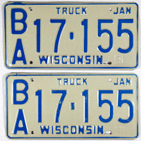 A classic pair of 1981 Wisconsin Truck License Plates