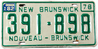 1982 New Brunswick License Plate