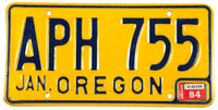 A 1984 Oregon passenger car license plate in excellent minus condition