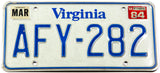 A classic 1984 Virginia license plate in very good condition