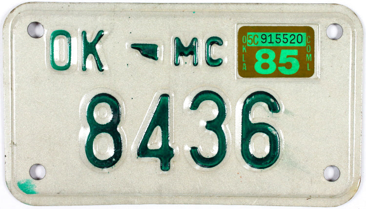 1985 Oklahoma Motorcycle License Plate