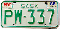 A classic 1985 Saskatchewan MOT motorcycle license plate in very good plus condition