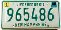 A vintage 1985 New Hampshire passenger automobile license plate