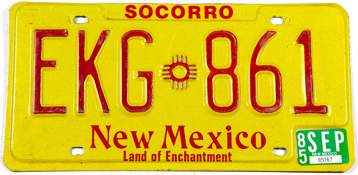 1985 New Mexico car license plate from Socorro County in excellent condition