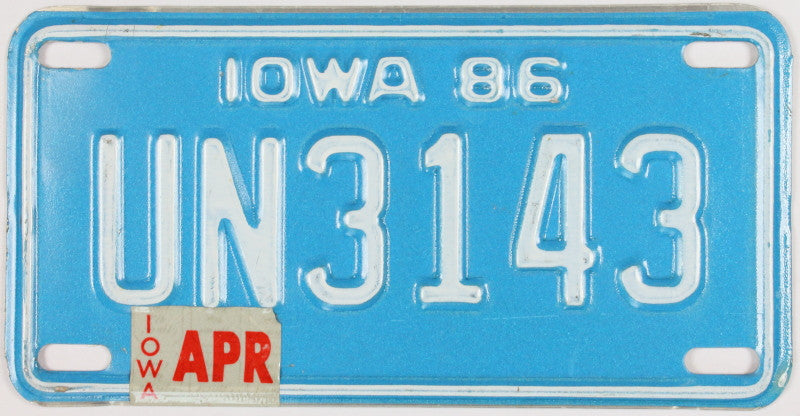 A 1986 Iowa Motorcycle License Plate which is in excellent minus condition