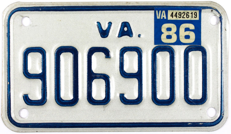 1986 Virginia Motorcycle License Plate lightly used excellent minus