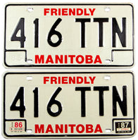 A classic pair of 1987 Manitoba passenger car license plates in very good plus condition