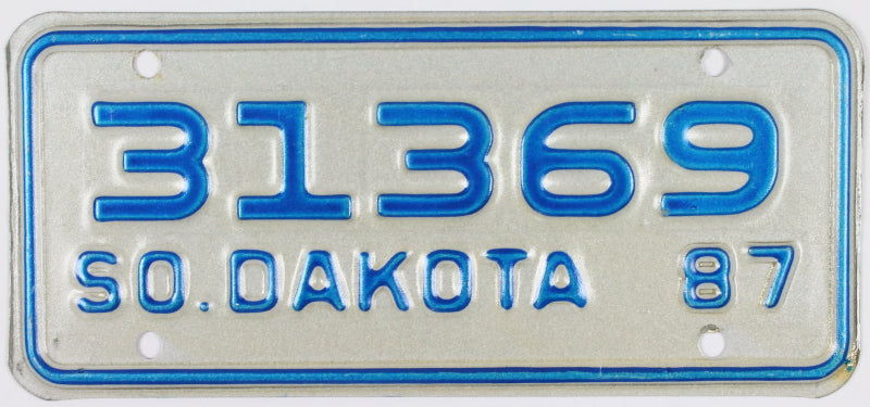 1987 South Dakota Motorcycle License Plate