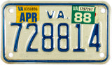 1988 Virginia Motorcycle License Plate Excellent Minus