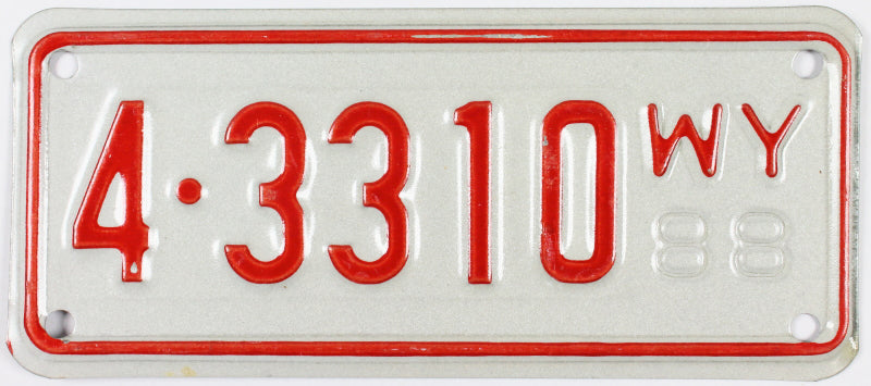 1988 Wyoming Motorcycle License Plate