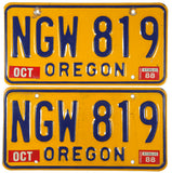 1988 Oregon License Plates in very good plus condition