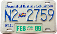 1989 British Columbia motorcycle license plate in excellent minus condition