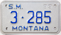 1989 Montana Special Mobile license plate in NOS near mint condition