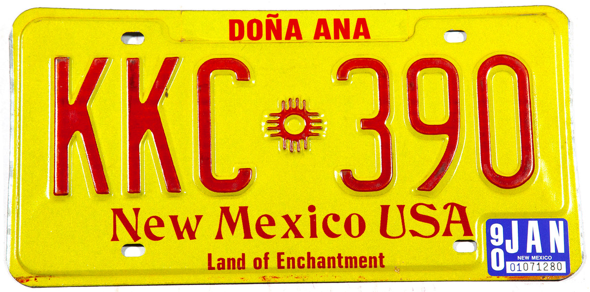 1990 New Mexico car license plate in excellent condition from Dona Ana county