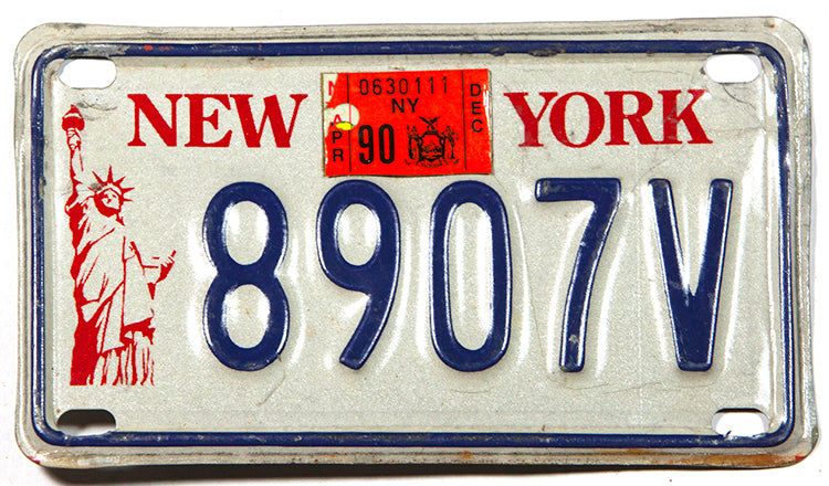 1990 New York Motorcycle License Plate