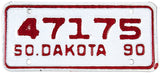 1990 South Dakota Motorcycle License Plate in excellent condition with heavy red paint