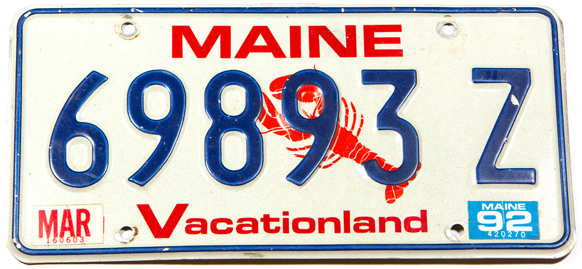 A scenic 1992 Maine Lobster automobile license plate in excellent minus condition