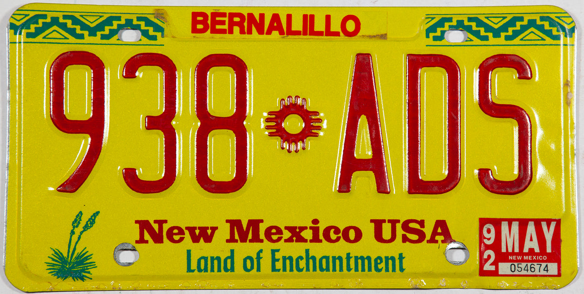 1992 New Mexico license plate from Bernalillo County in excellent condition