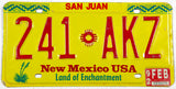 1992 New Mexico license plate from San Juan County in excellent minus condition