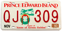 A classic 1993 passenger car license plate from the Canadian province of Prince Edward Island in excellent minus condition
