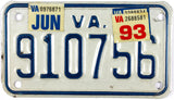 1993 Virginia Motorcycle License Plate