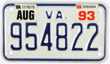 1993 Virginia Motorcycle License Plate in Excellent condition