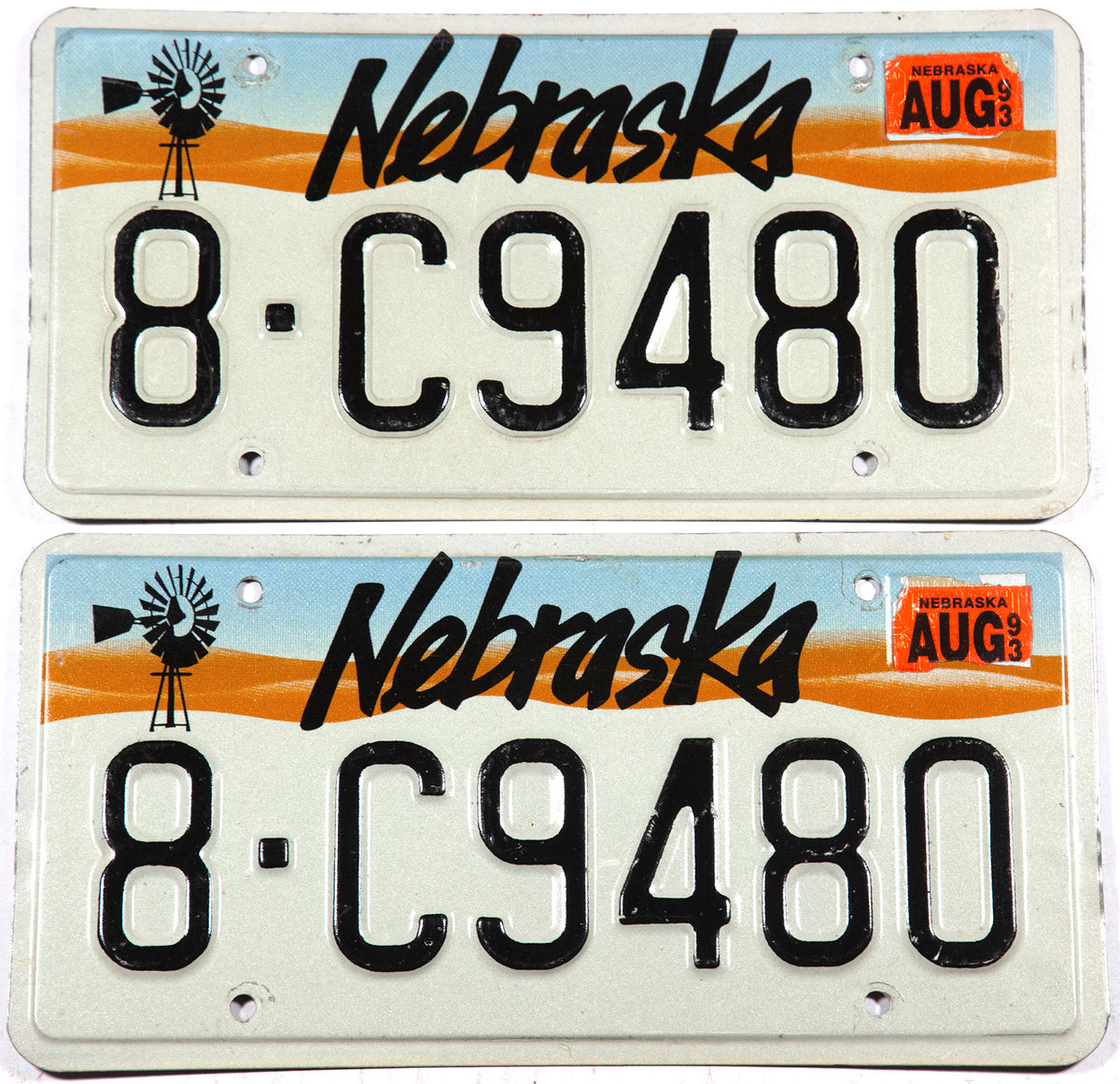 1993 Nebraska car license plates in very good plus condition from Hall county
