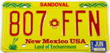 1993 New Mexico car License Plate from Sandoval County in excellent condition