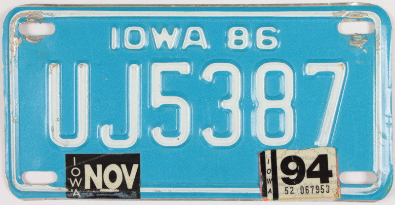 A 1994 Iowa Motorcycle License Plate which is in Excellent Minus Condition