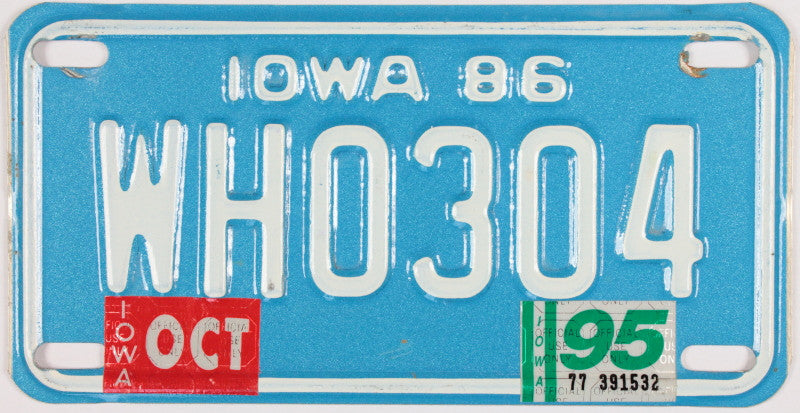 A 1995 Iowa Collectible Motorcycle License Plate grading excellent