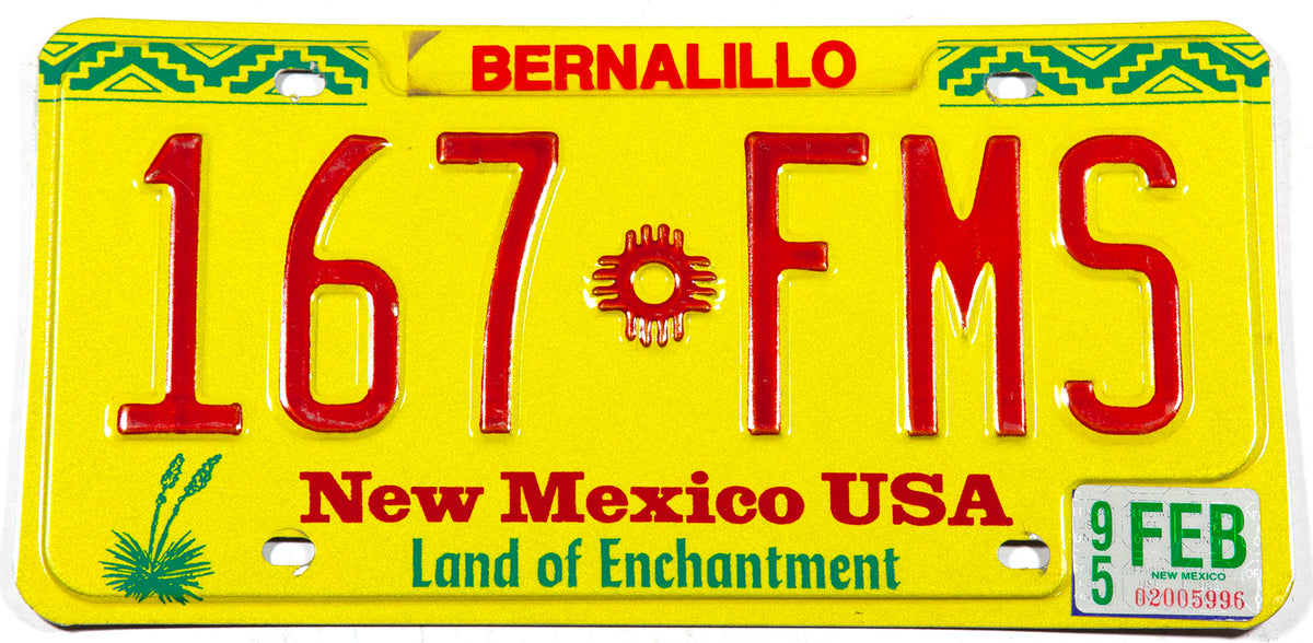 1995 New Mexico car license plate in excellent condition from Bernalillo county