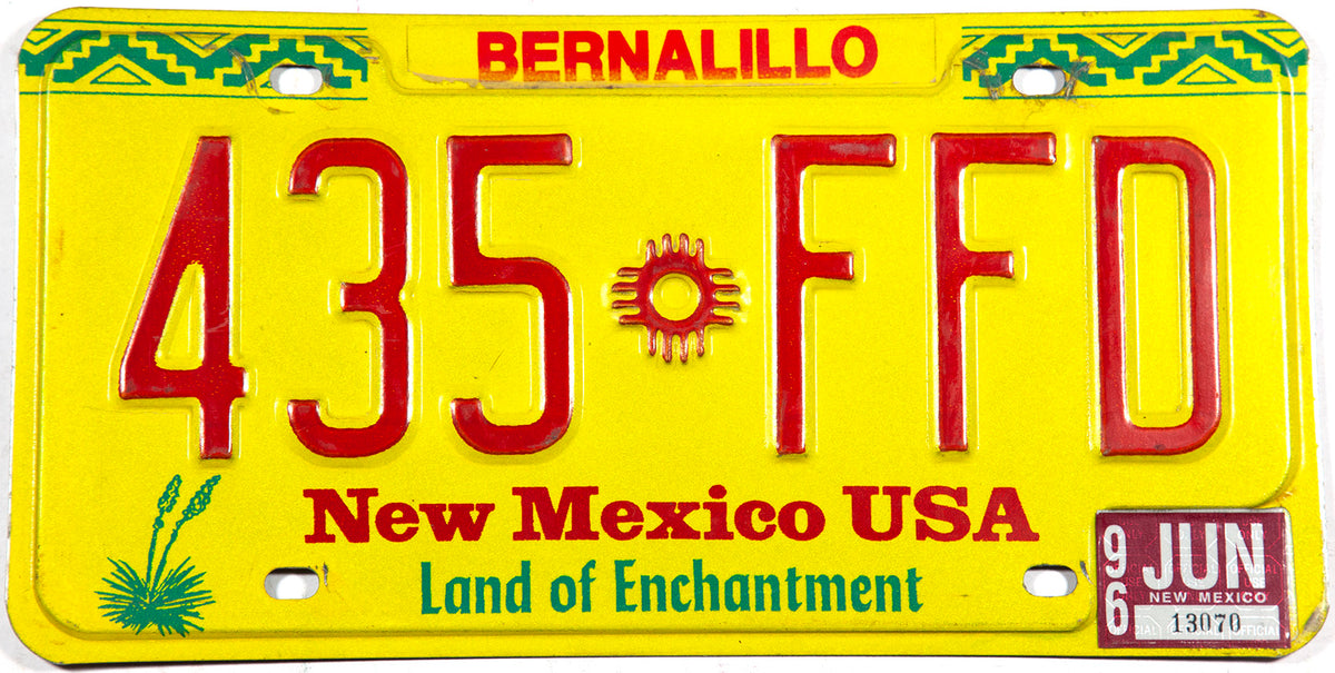 1996 New Mexico car license plate from Bernalillo County in excellent minus condition