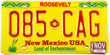1996 New Mexico car license plate from Roosevelt County in excellent minus condition
