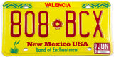 1996 New Mexico car license plate from Valencia County in excellent minus condition