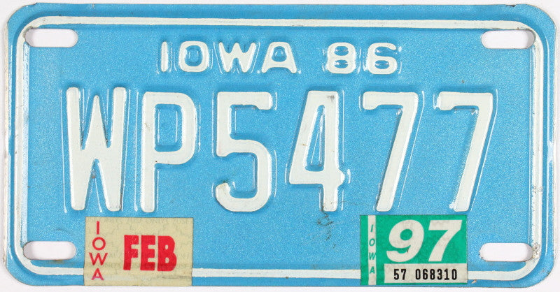 A 1997 Iowa Motorcycle License Plate that is in Excellent Minus Condition. The color of this '97 IA Bike Tag is blue with white letters.
