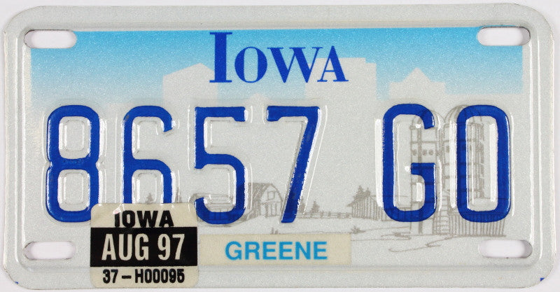 A great graphic 1997 Iowa Motorcycle License Plate that is NOS and in excellent condition
