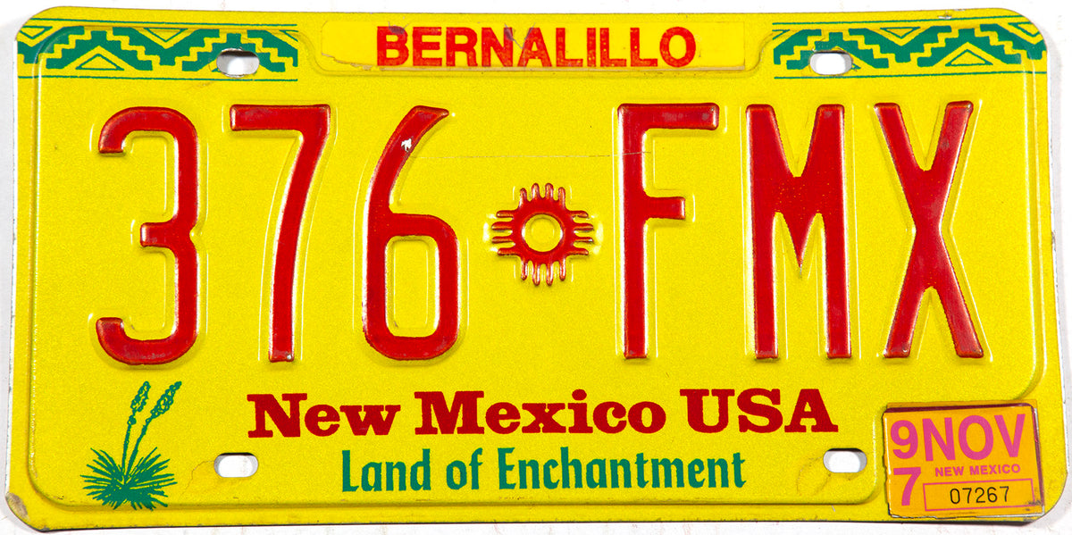 1997 New Mexico car license plate from Bernalillo County in Excellent minus condition