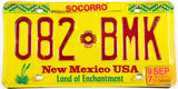 1997 New Mexico car license plate from Socorro County in Excellent minus condition