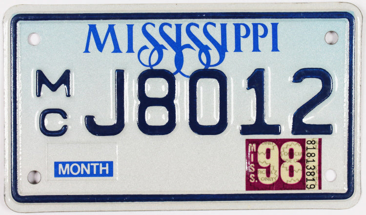 1998 Mississippi Motorcycle License Plate