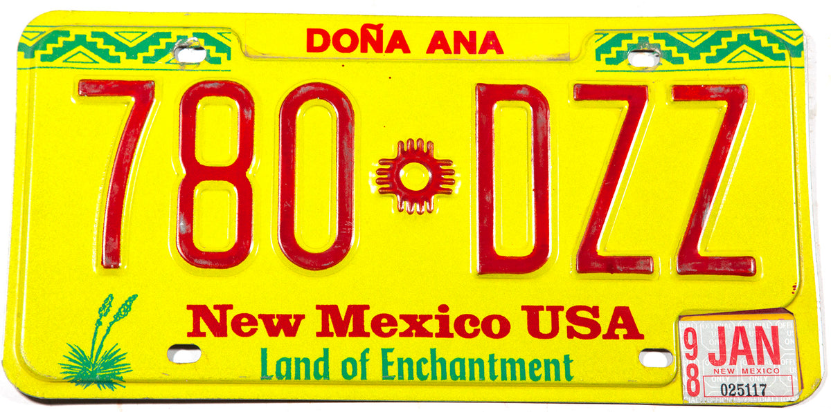 1998 New Mexico car license plate in excellent minus condition from Dona Ana county