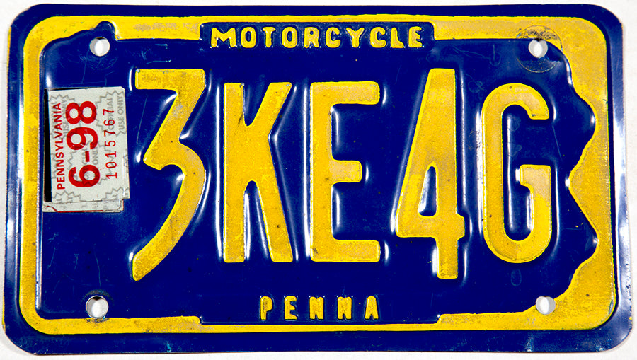 1998 Pennsylvania Motorcycle License Plate grading very good plus