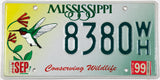 1999 Mississippi Hummingbirg car license plate